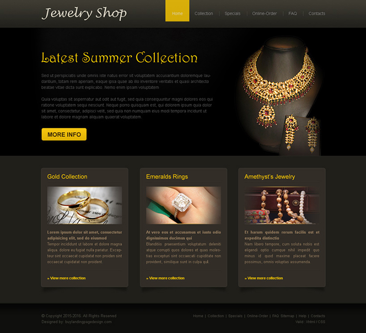 latest summer collection online jewelry shop website template