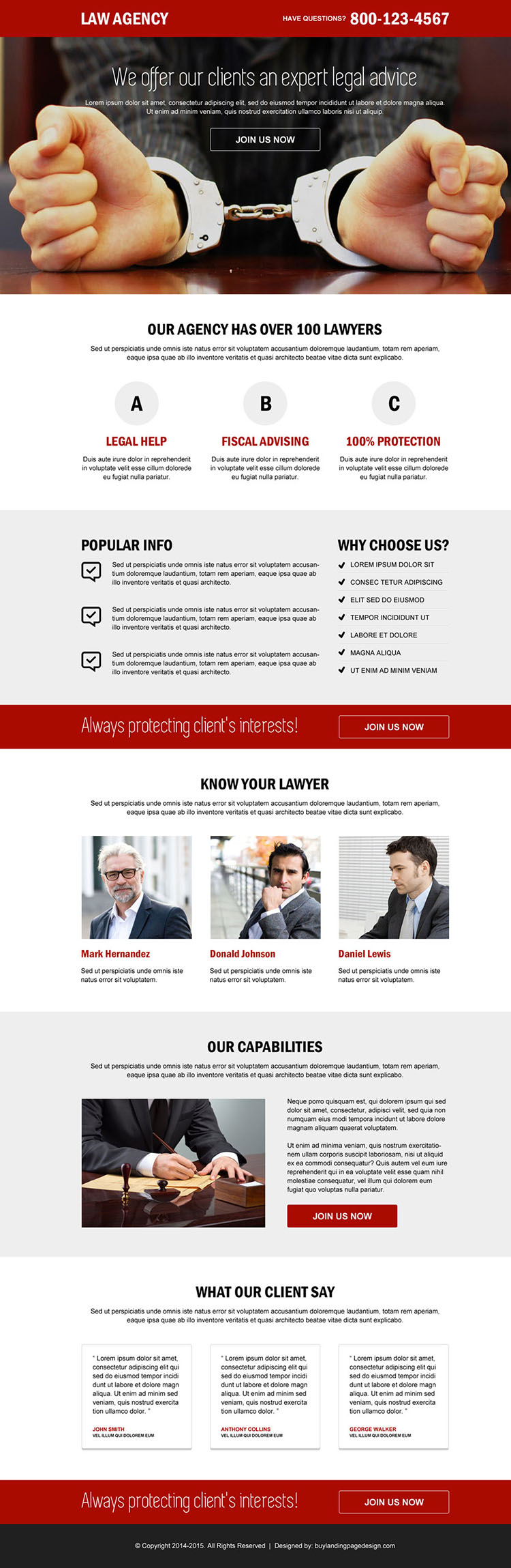 law agency call to action landing page design