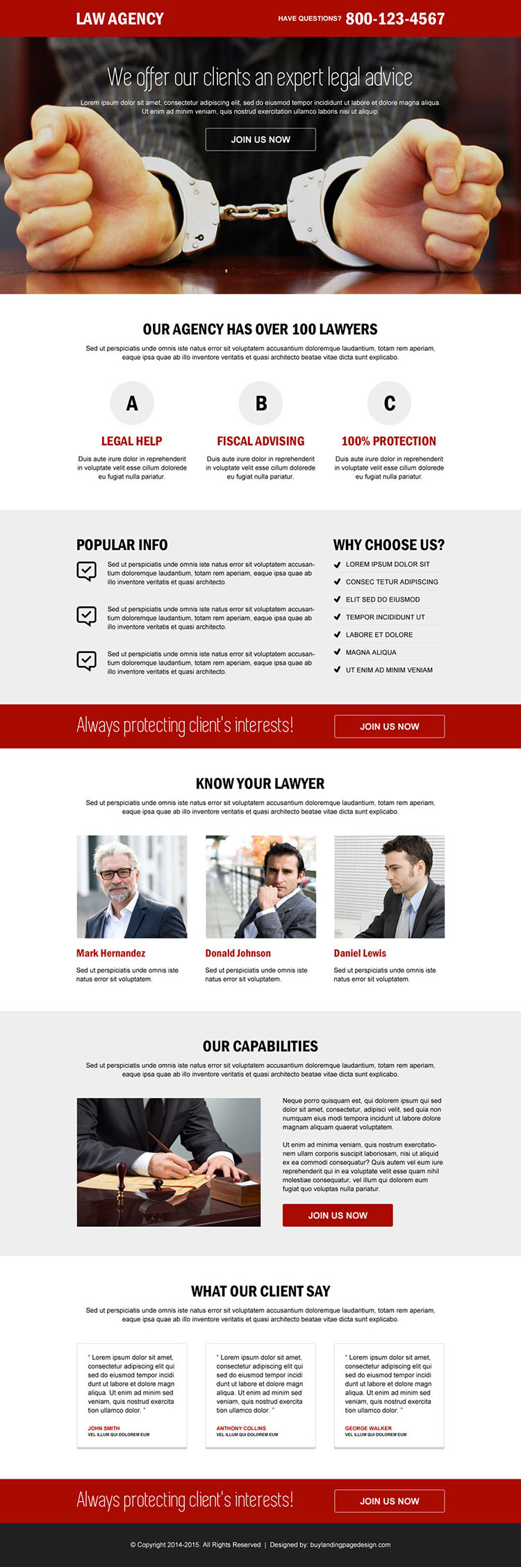 law agency call to action responsive landing page design