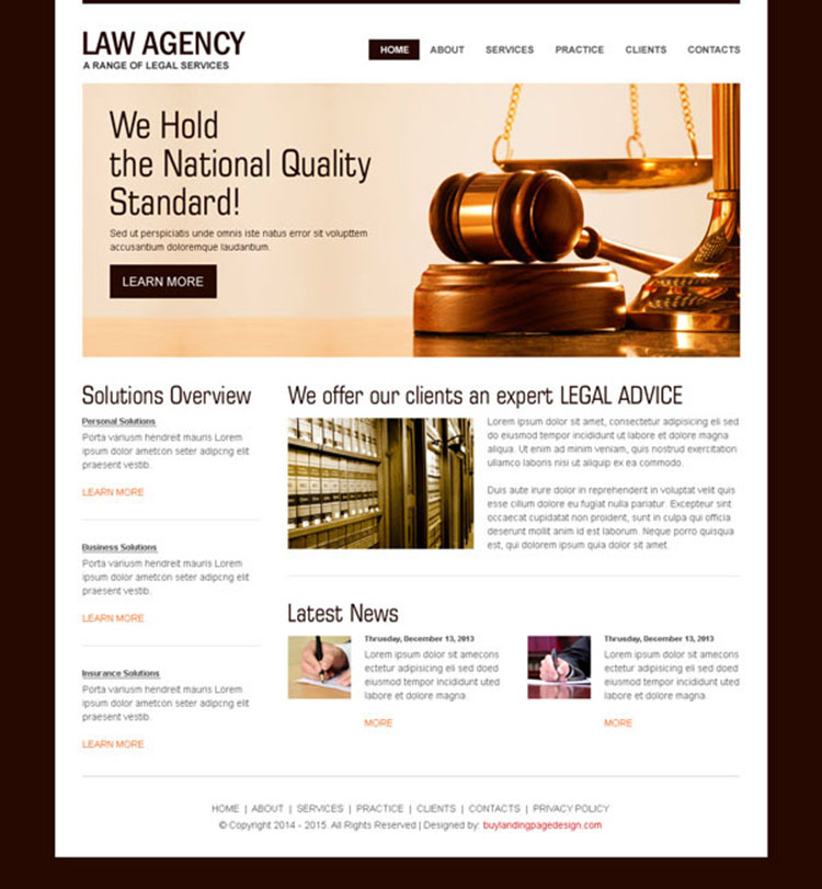 law agency clean website template design psd