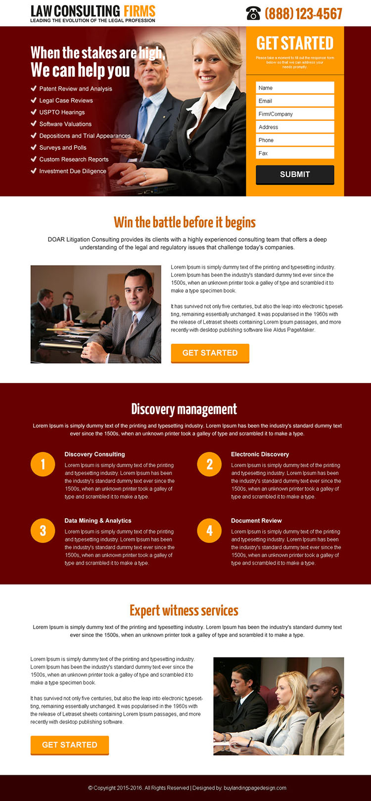 law consulting firms lead capture landing page design