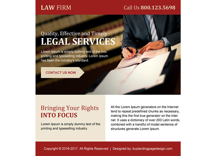 law firm ppv landing page design for legal services