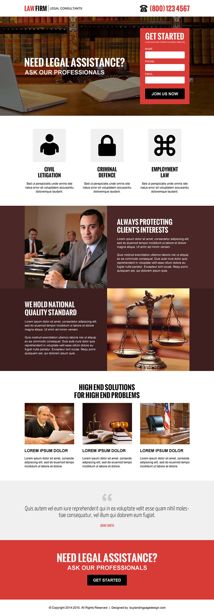 law firm clean and professional lead capture landing page design