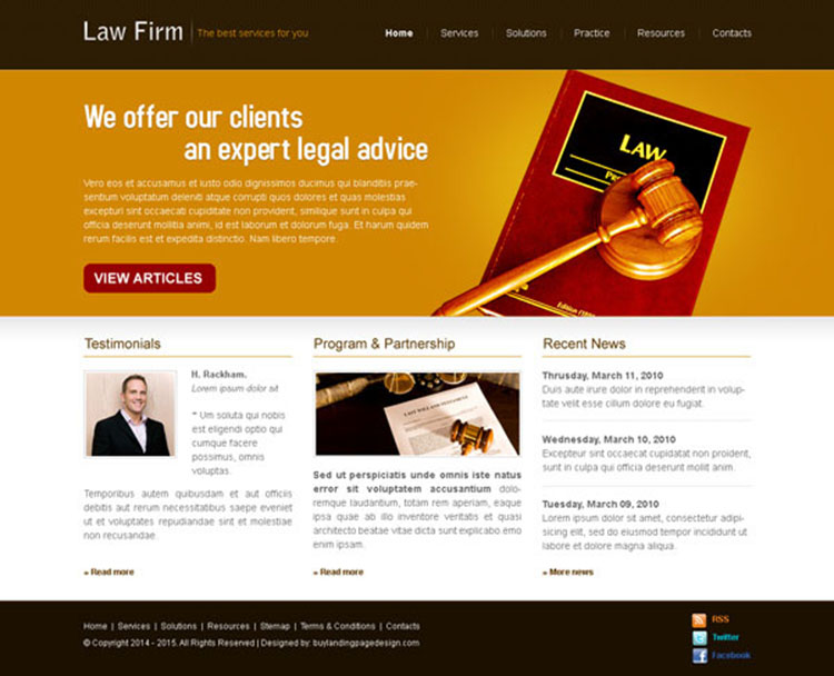 law firm clean and appealing website template design psd