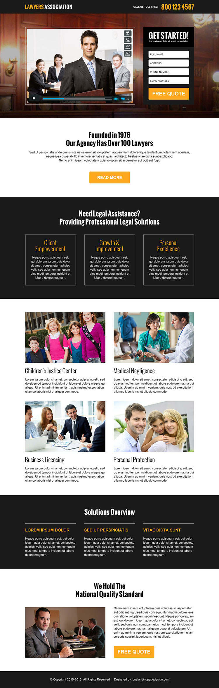 lawyers association video lead gen landing page design