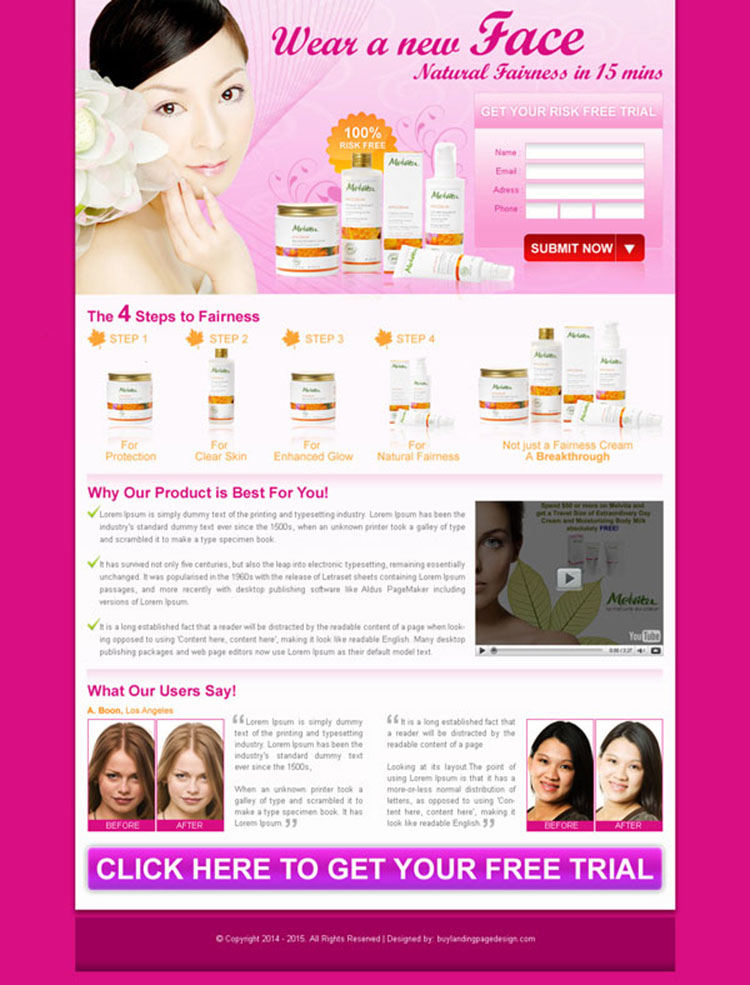 beauty product lead capture landing page design for sale