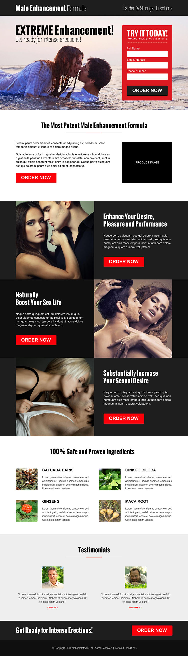 modern and converting lead capture responsive landing page design for male enhancement