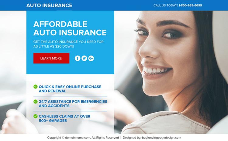 auto insurance responsive lead funnel landing page design