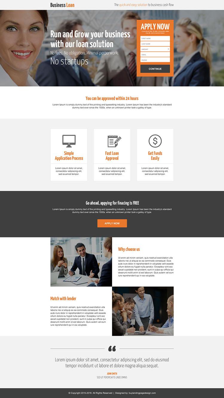 responsive lead generating business loan landing page design