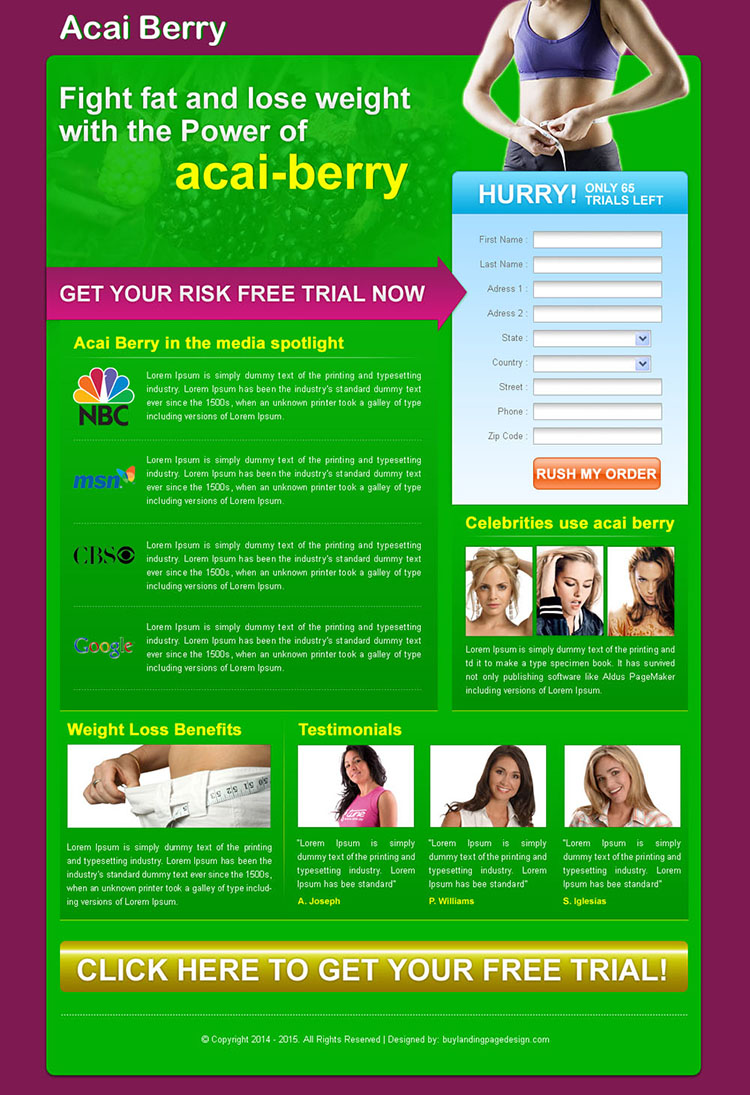 lead generating creative weight loss landing page design for sale