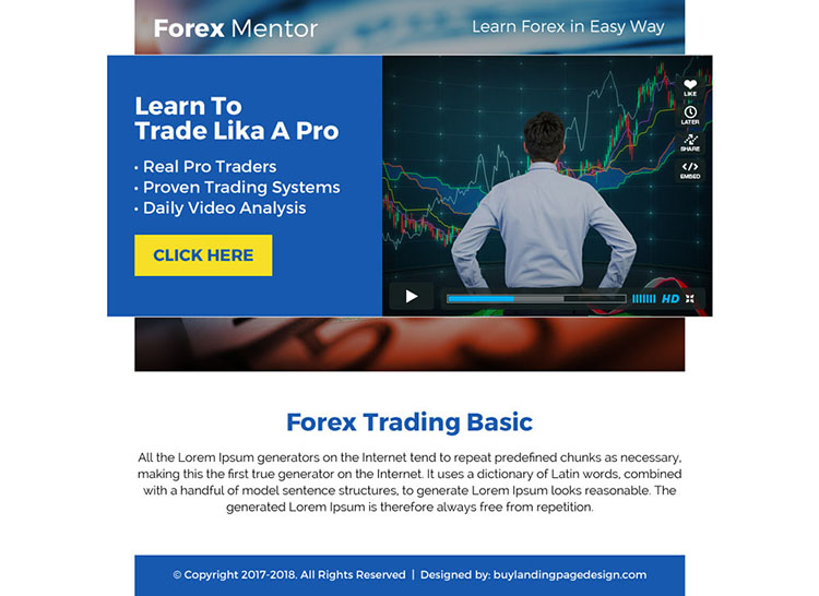 forex mentor video ppv landing page design