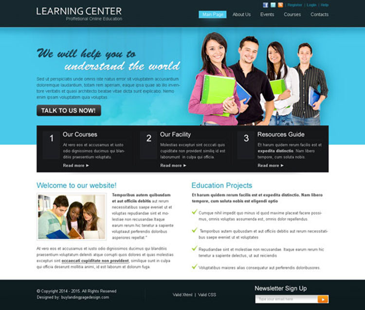 learning center professional and attractive website template design psd