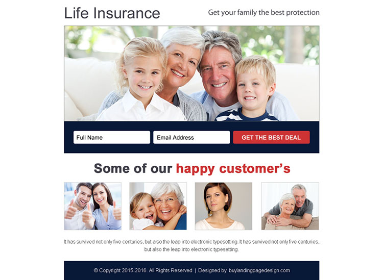life insurance best deal free quote ppv landing page design