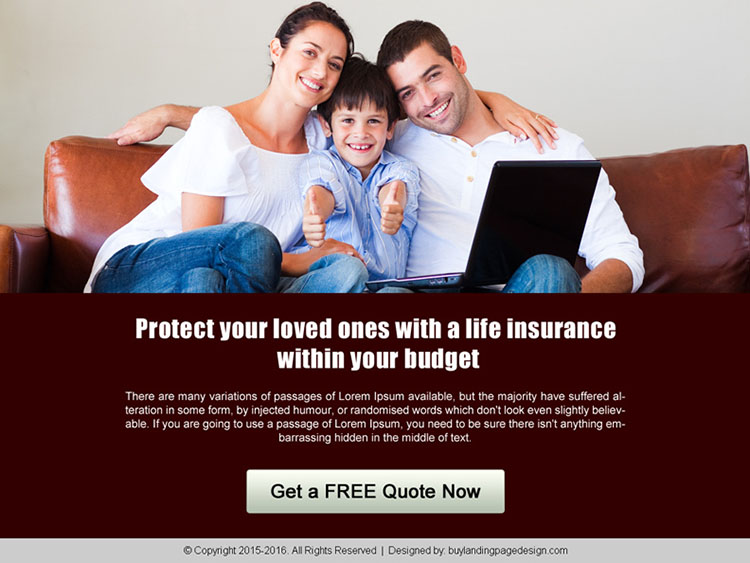 life insurance call to action ppv landing page design template