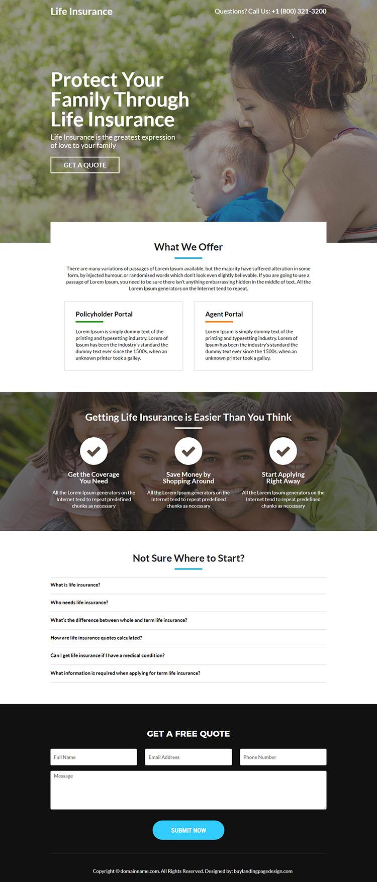 minimal life insurance responsive landing page design