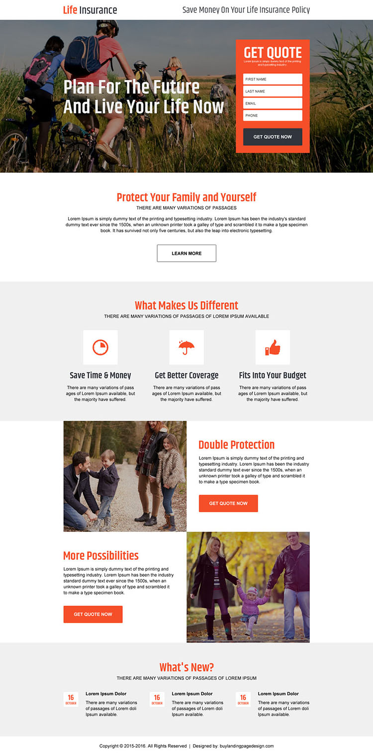 life insurance policy for family responsive landing page design