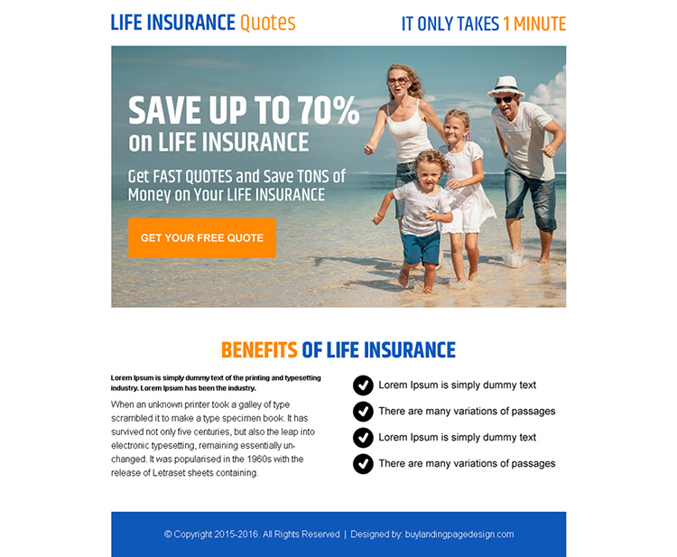 life insurance quote converting call to action ppv landing page design
