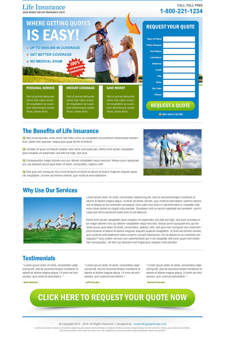 clean life insurance user friendly and effective lander design