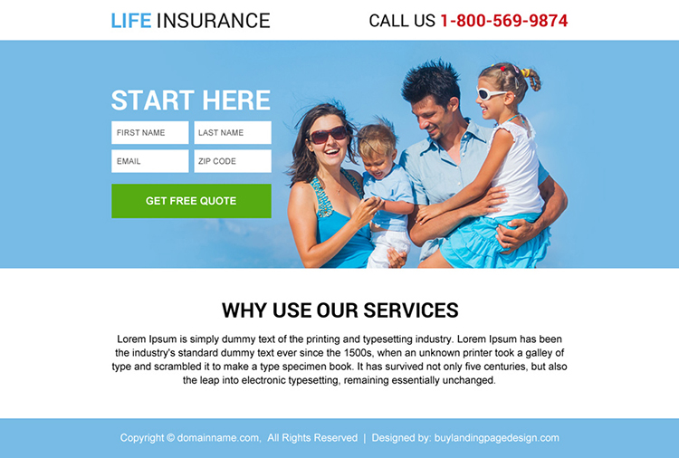 life insurance service lead generating ppv design