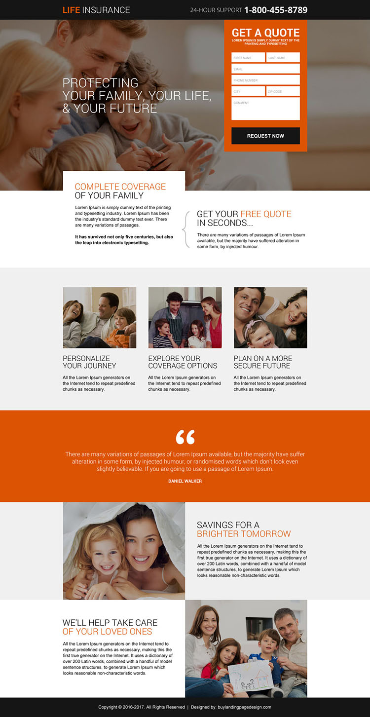 life insurance plans for future leads landing page design