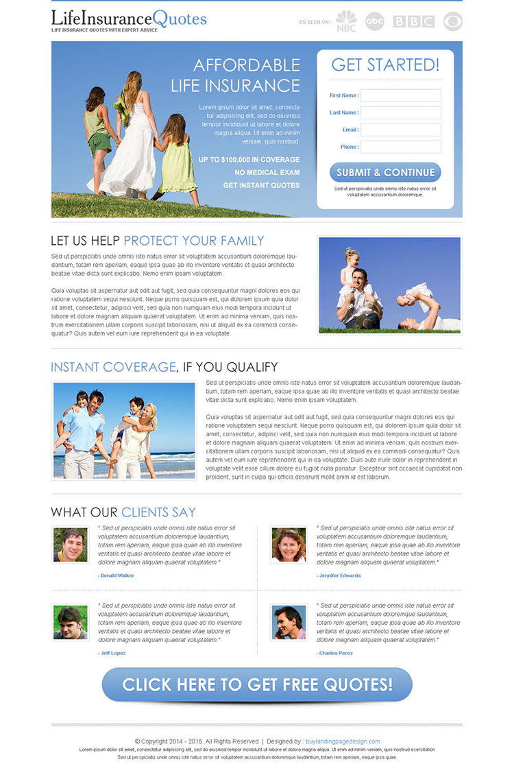 clean and minimal life insurance quotes lead capture page