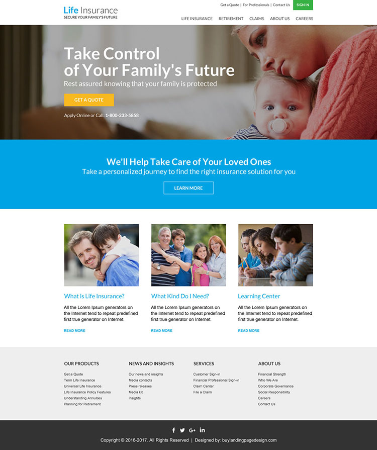 professional life insurance responsive website design