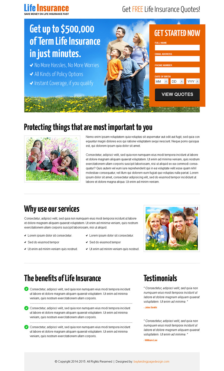life insurance free quote lead capturing responsive landing page
