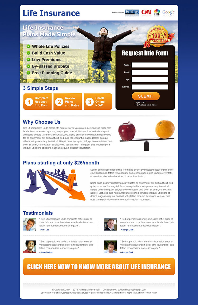 life insurance business lead capture landing page design