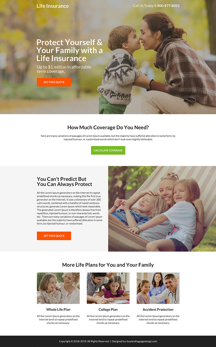 life insurance term coverage free quote mini landing page design