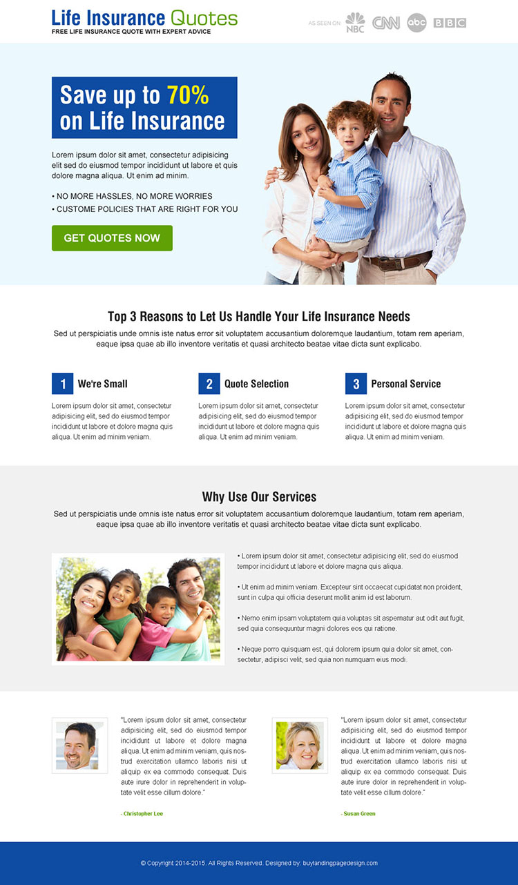 life insurance quotes clean and minimal looking landing page design