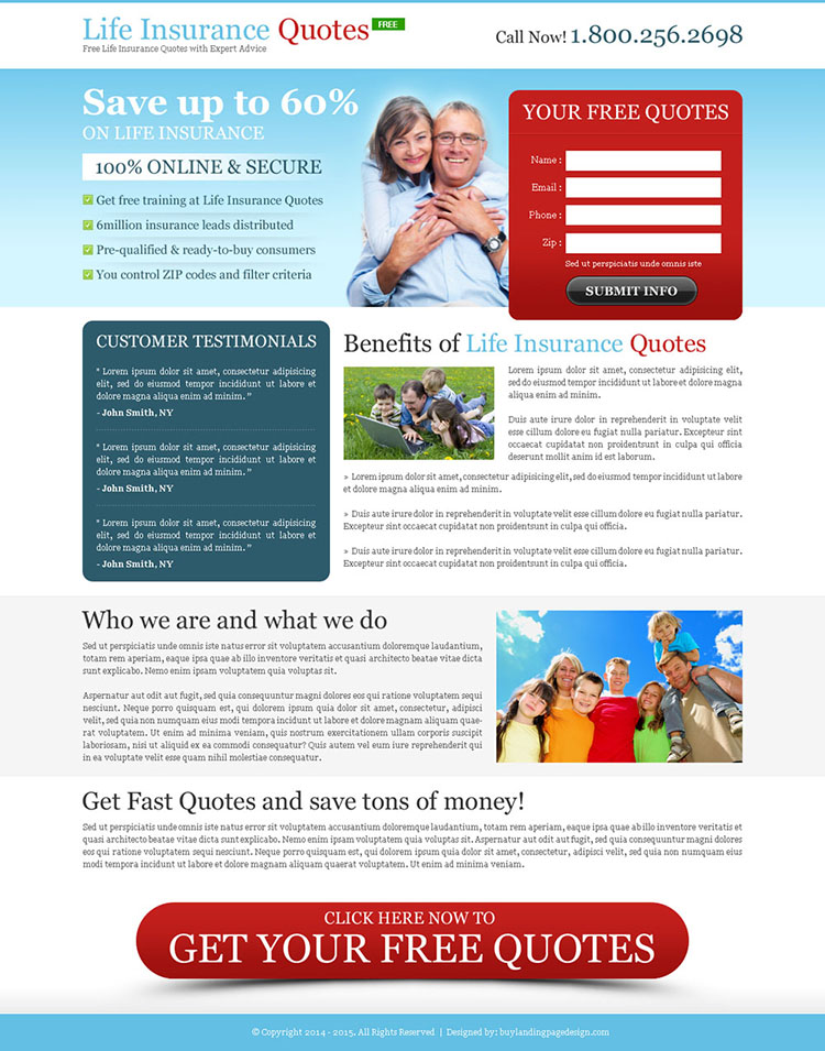 effective life insurance quote lead capture page design