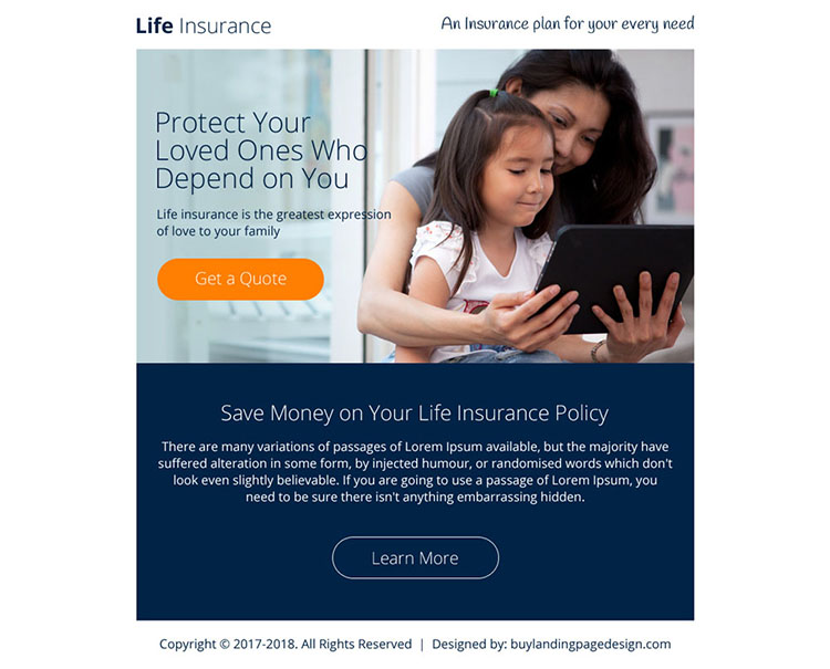 life insurance free quote lead generating ppv landing page