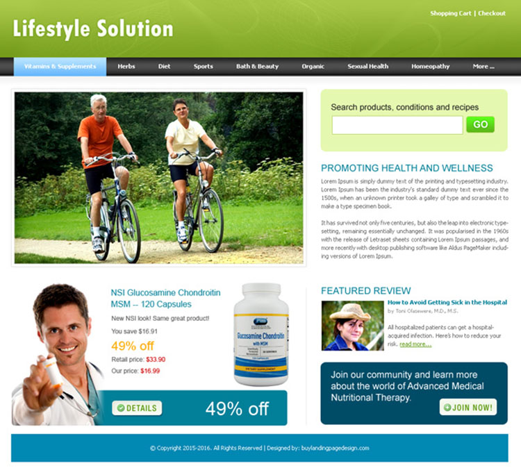lifestyle solutions website template design psd for sale