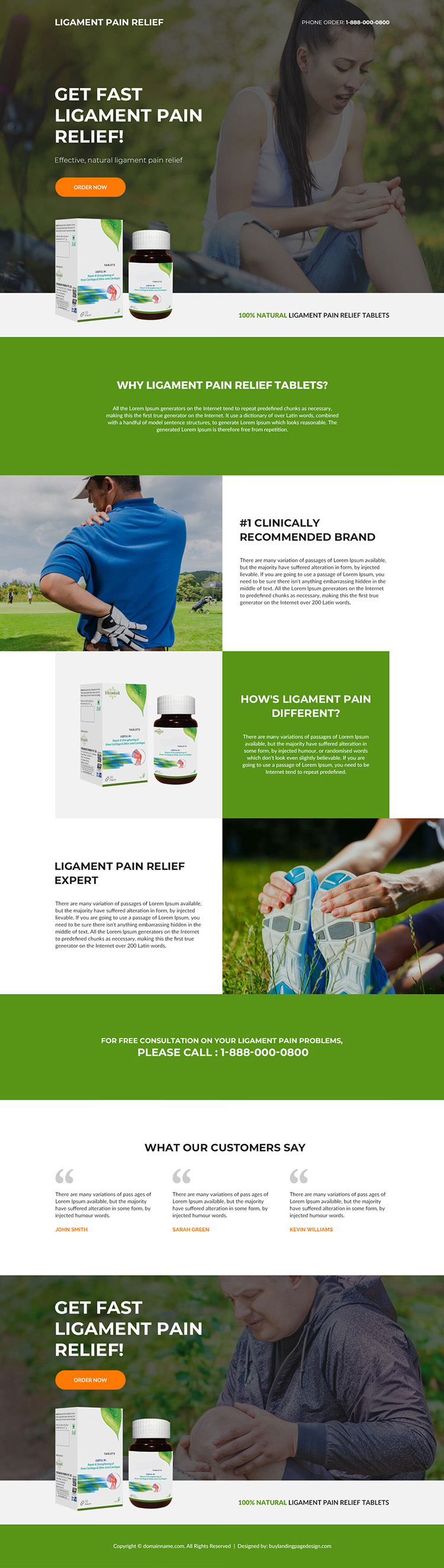 ligament pain relief tablets selling responsive landing page