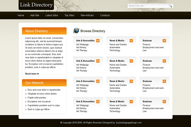 link directory website template design psd to create your directory website
