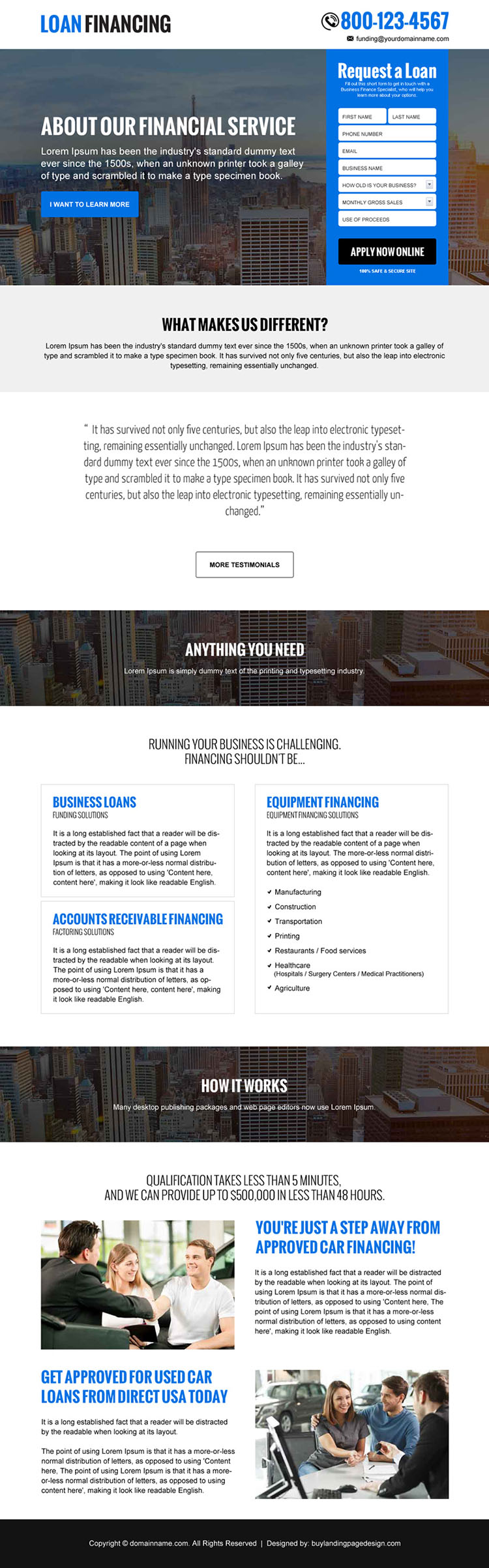 loan financing free quote responsive landing page design