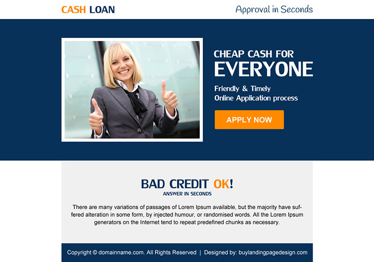 bad credit cash loan ppv landing page design