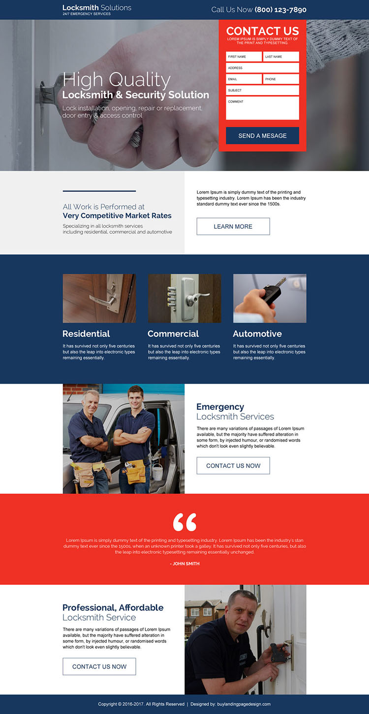 emergency locksmith service solution responsive landing page design