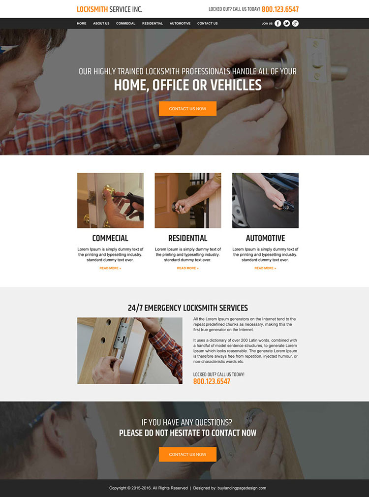 locksmith service responsive website template design