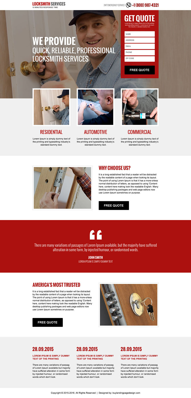 locksmith services free quote lead capturing landing page design