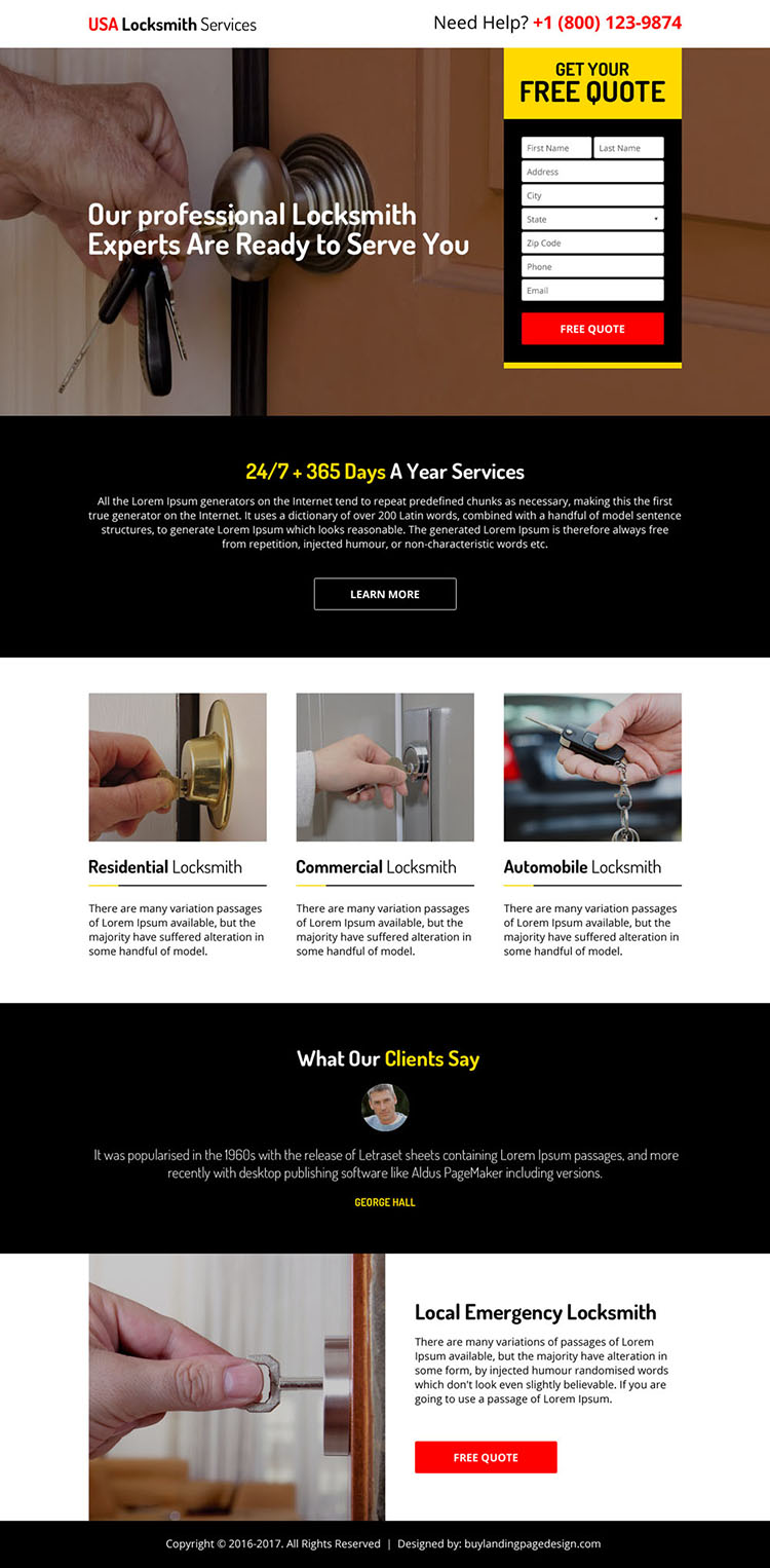 residential and commercial locksmith services responsive landing page