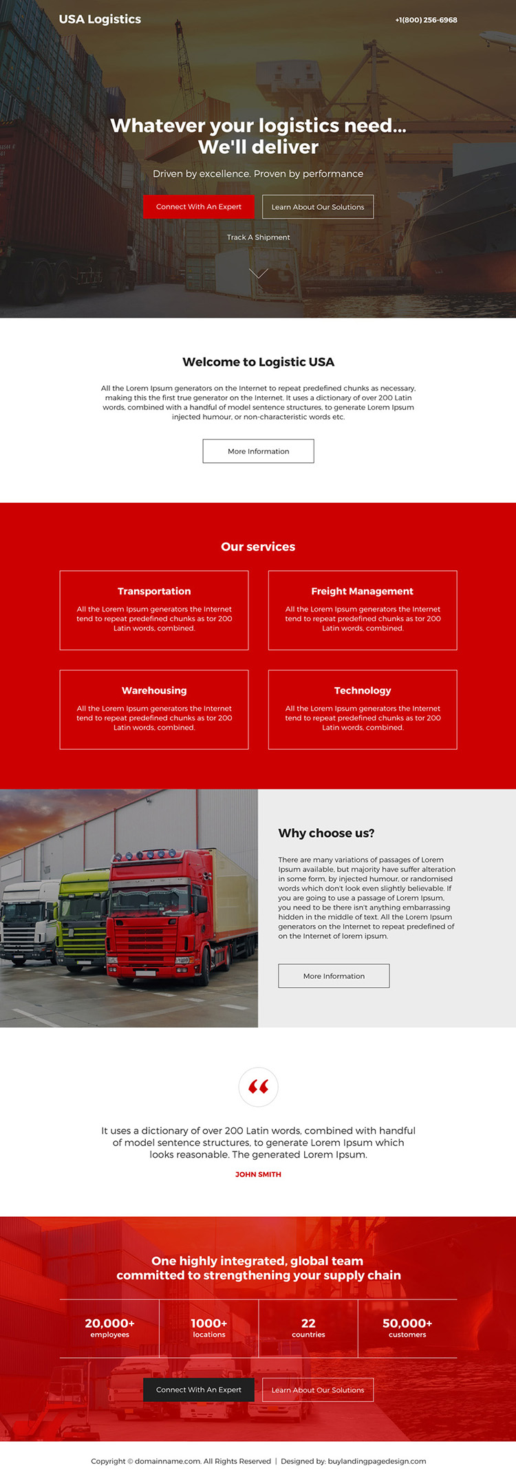 logistic services modern responsive landing page design