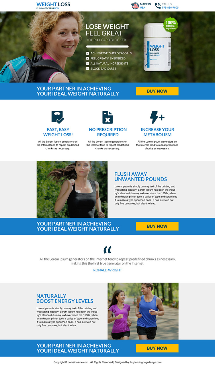 weight loss product selling responsive landing page