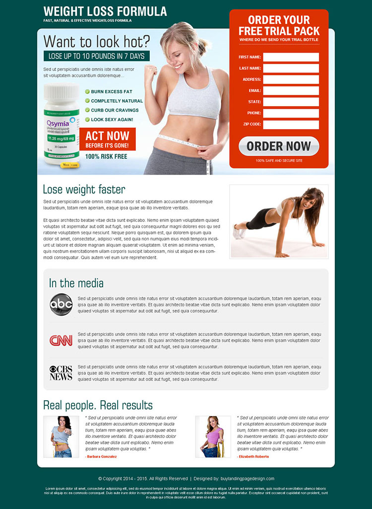weight loss formula product very beautiful and converting lead capture squeeze page design to increase sale of your product