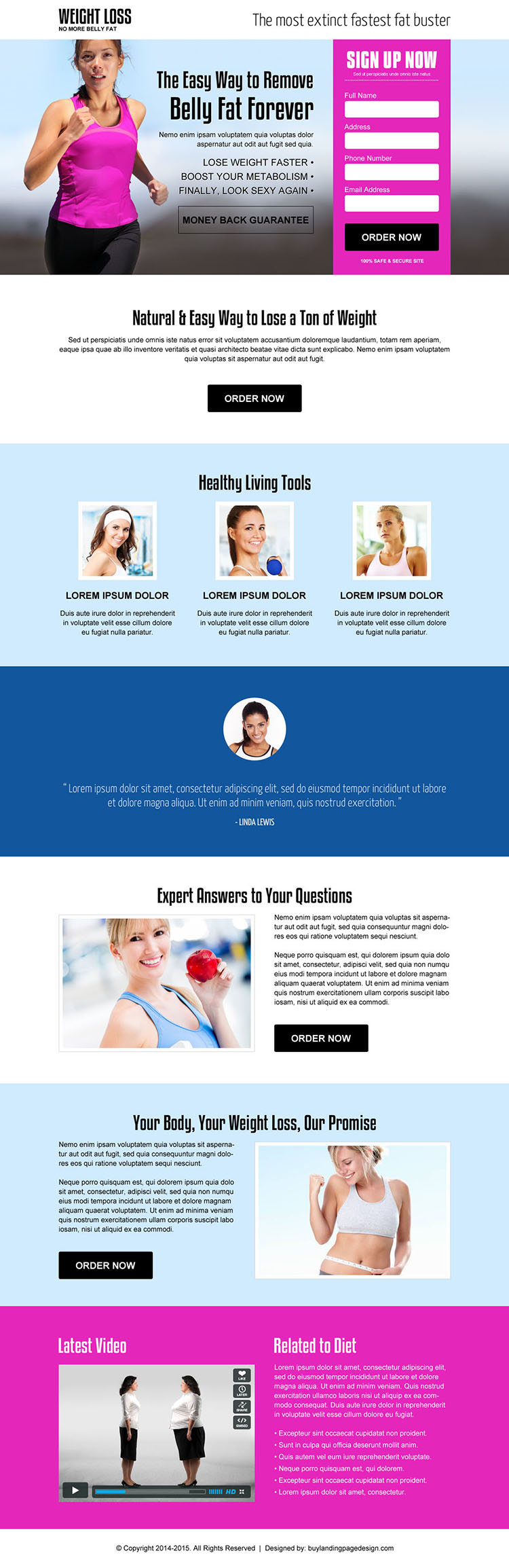 lose belly fat weight loss service effective landing page design