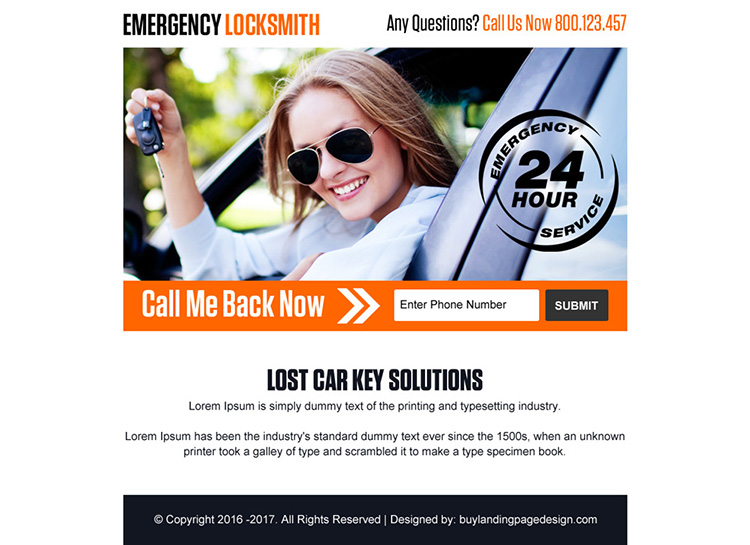 emergency car key solutions ppv landing page design