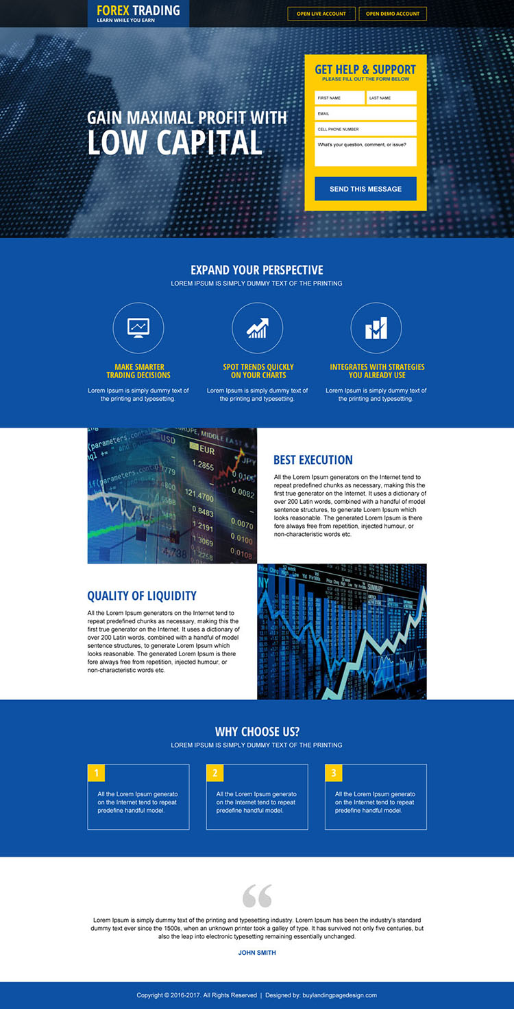 top forex brokers lead generating landing page design