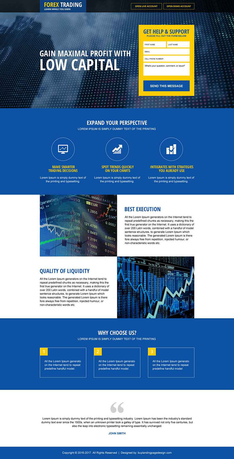 responsive low capital forex trading landing page design