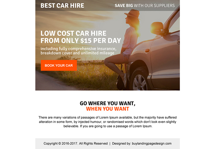 low cost car hire ppv landing page design