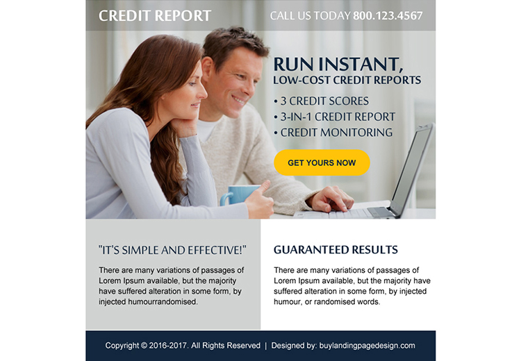 low cost credit report free quote ppv landing page